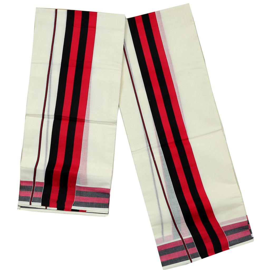 Black And Ruby Color Fancy Kara Cotton  Setmundu