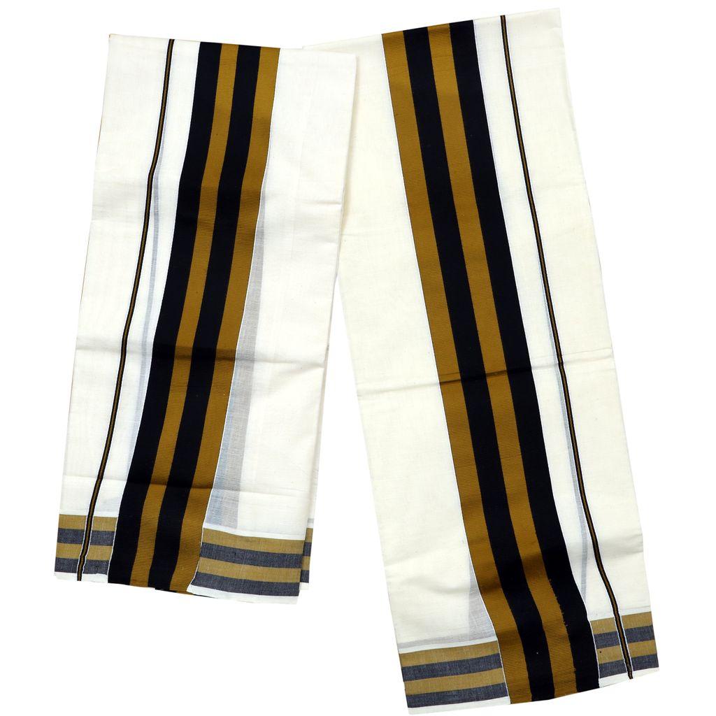 Black And Golden Yellow Fancy Kara Cotton Setmundu