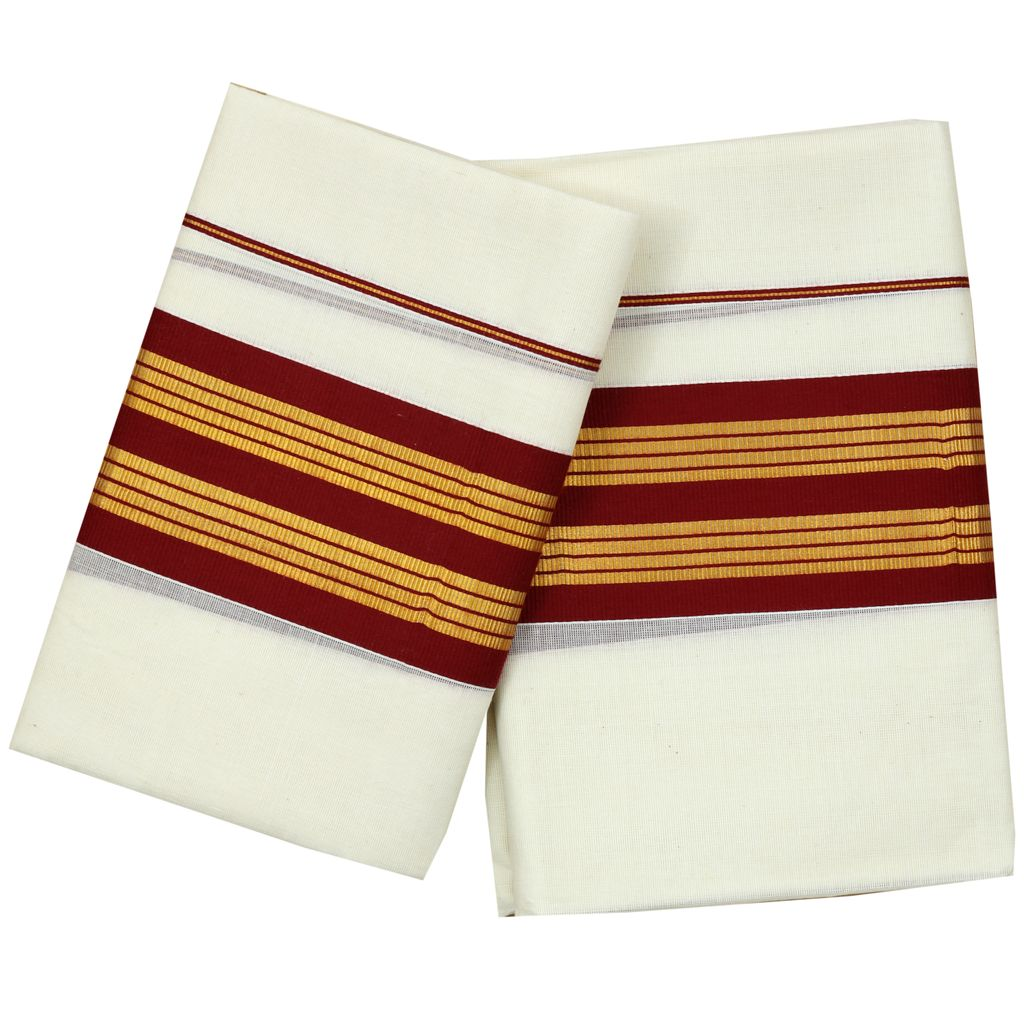 Maroon Kara And Golden Stripes Set Mundu