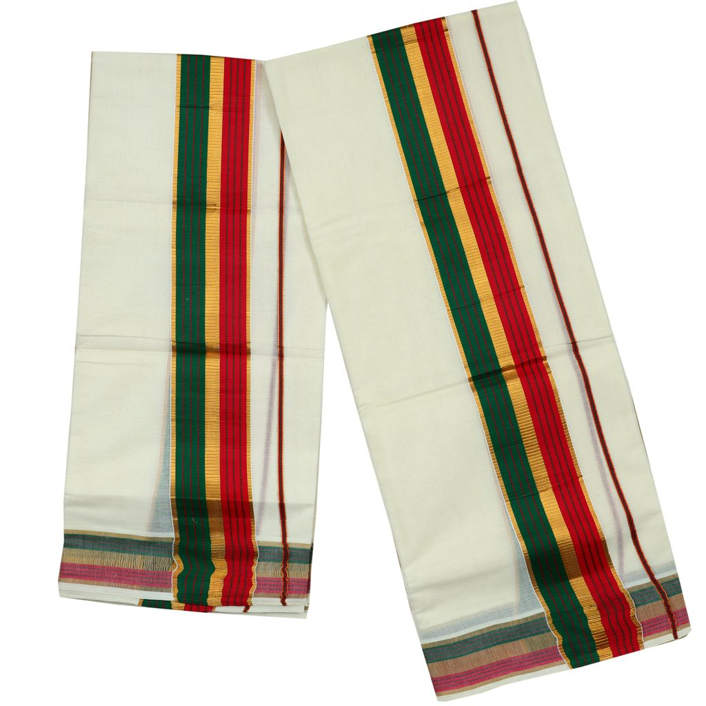 Green And Pink Kara Cotton Setmundu With Golden Stripes