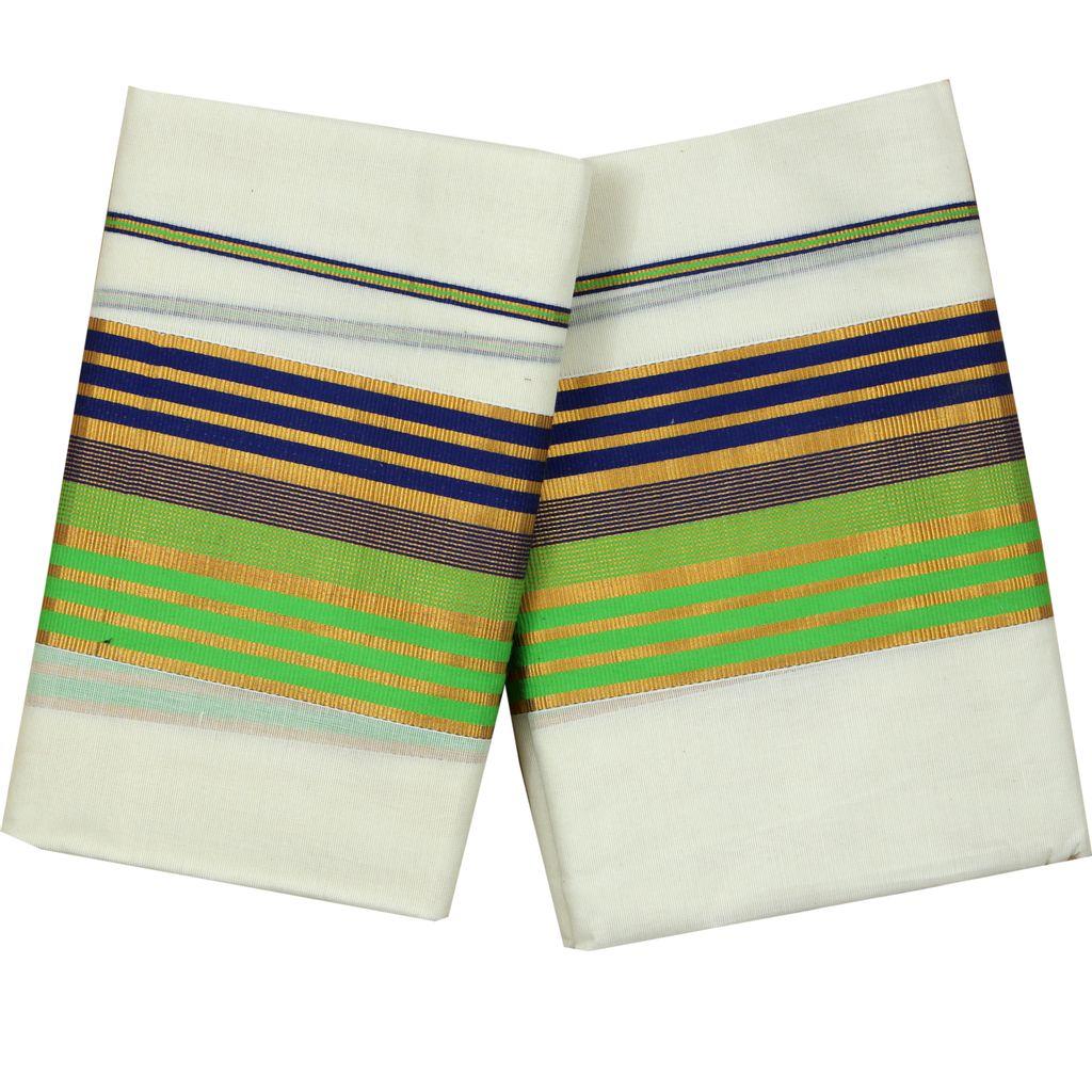 Fancy Kara Cotton Setmundu With Golden Stripes