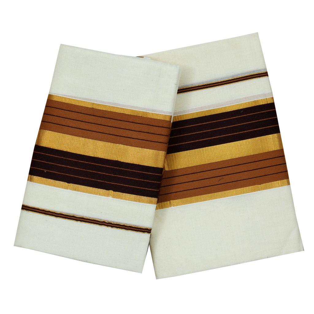 Fancy Kara Cotton Set Mundu With Golden Stripes