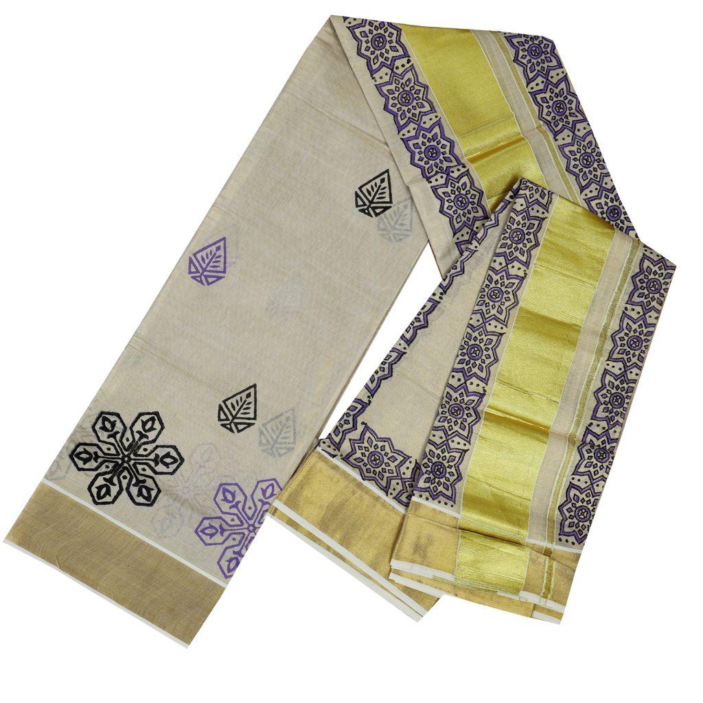 Hand Block Prints In Golden Kasavu Tissue Cotton Setmundu