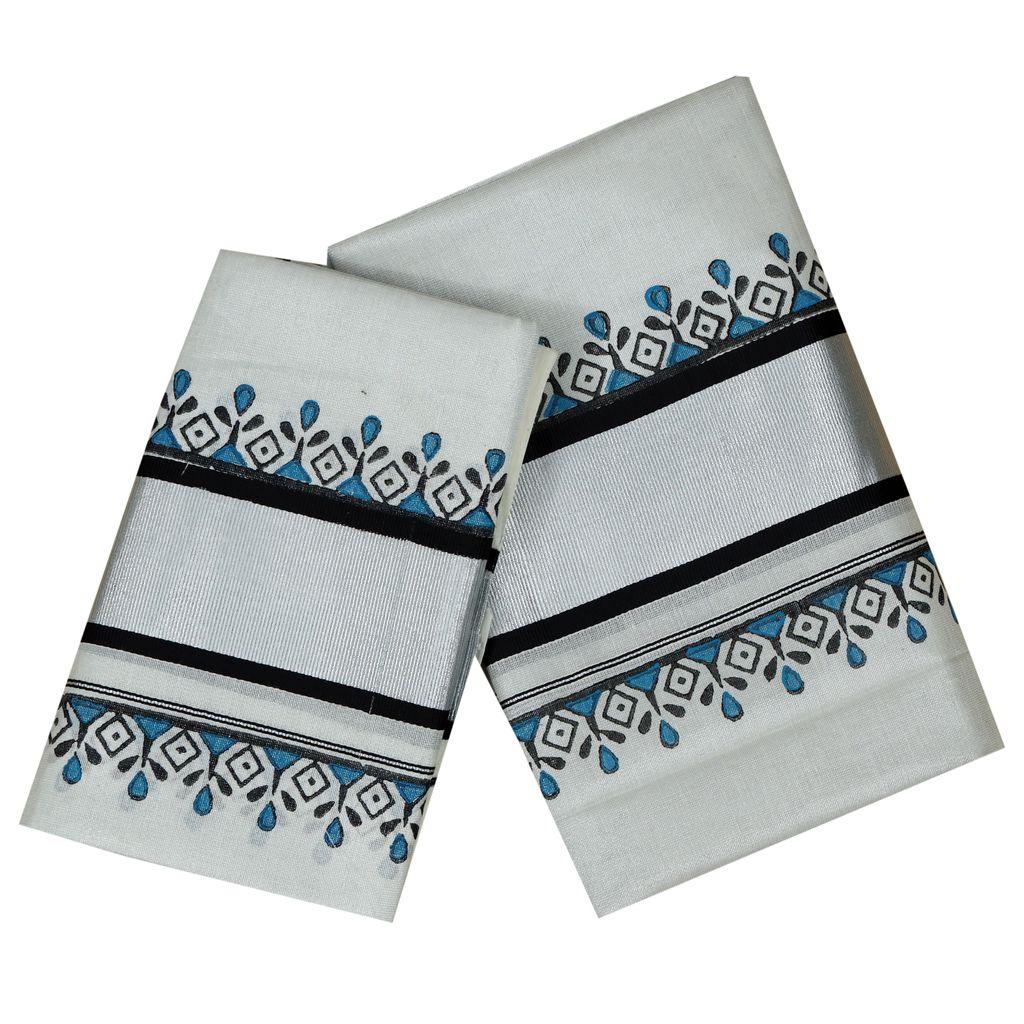 Hand Block Prints In Silver Kasavu Tissue Cotton Setmundu