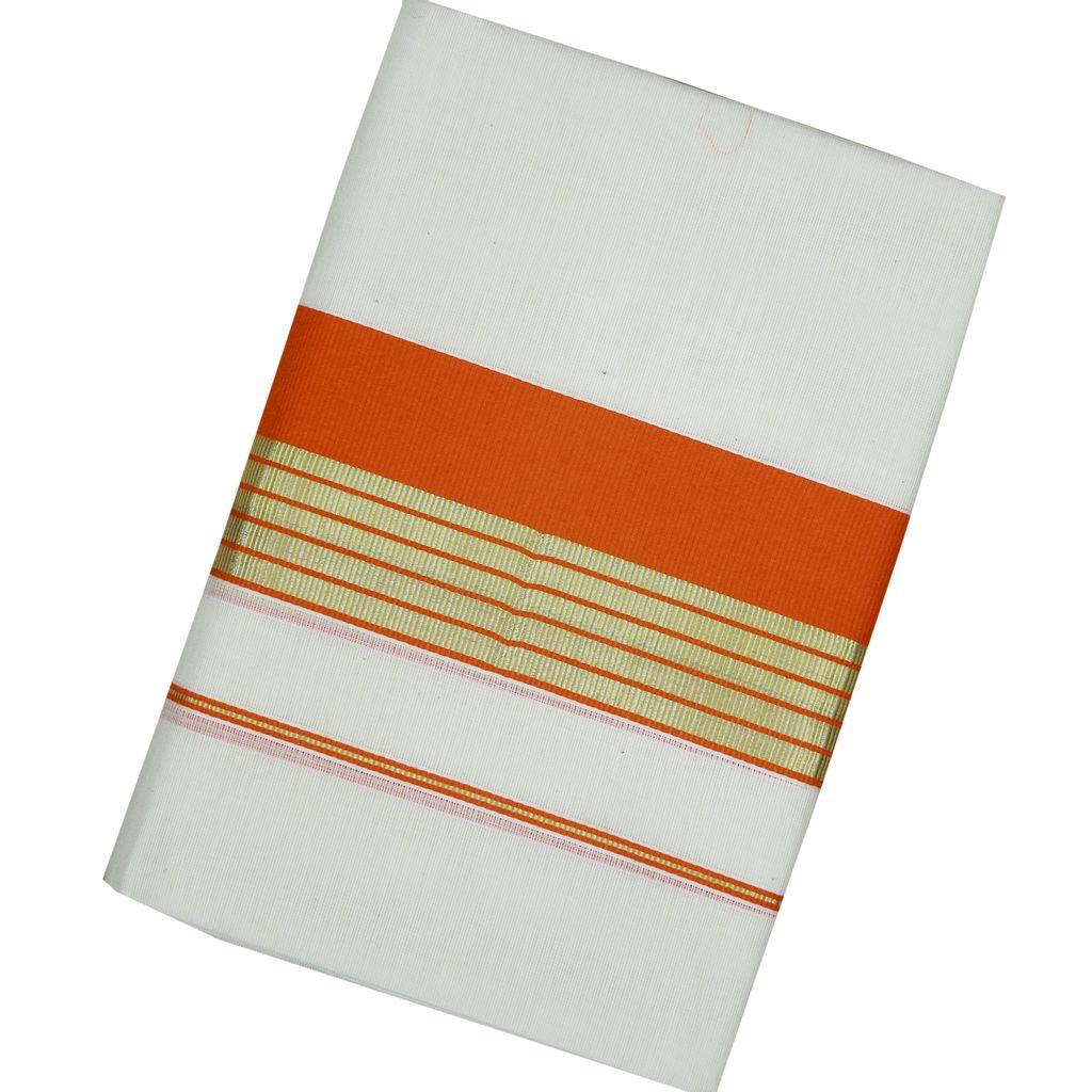 Orange Kara Cotton Set Mundu With Golden Stripes