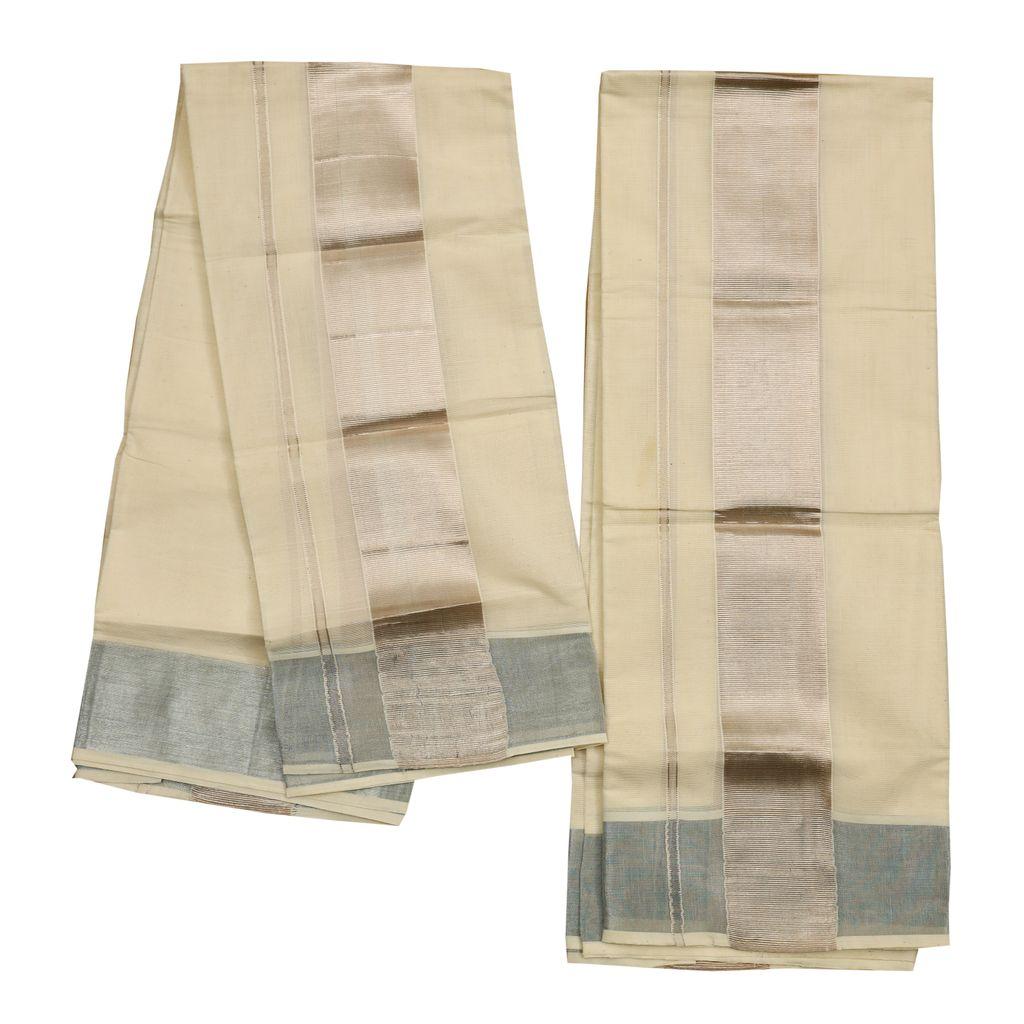 Cotton Set Mundu With Silver Border