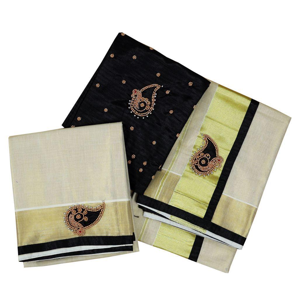 Tissue Cotton Set Mundu With Hand Work Embroidery