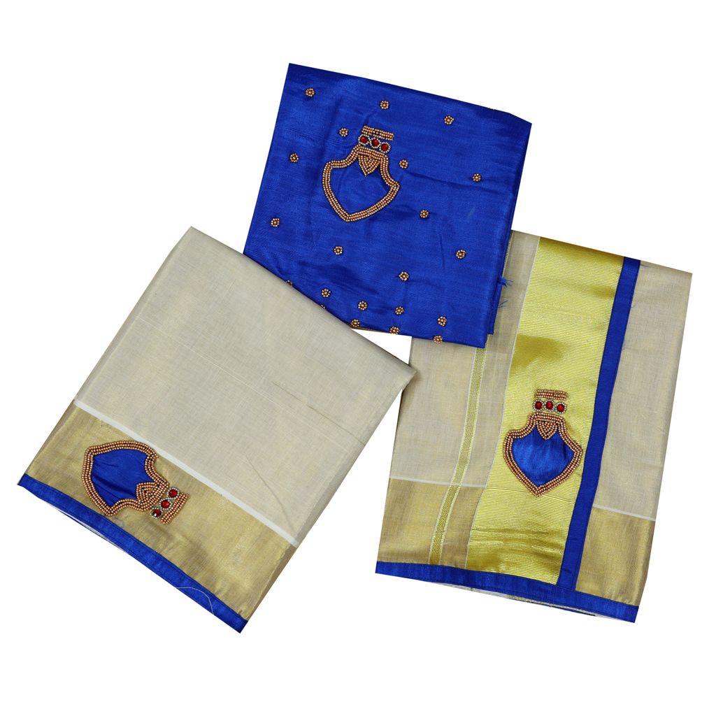 Traditonal Palakka Setmundu In Blue Embroidery