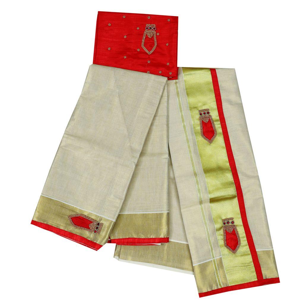Traditional Nagapada Tissue Set Mundu