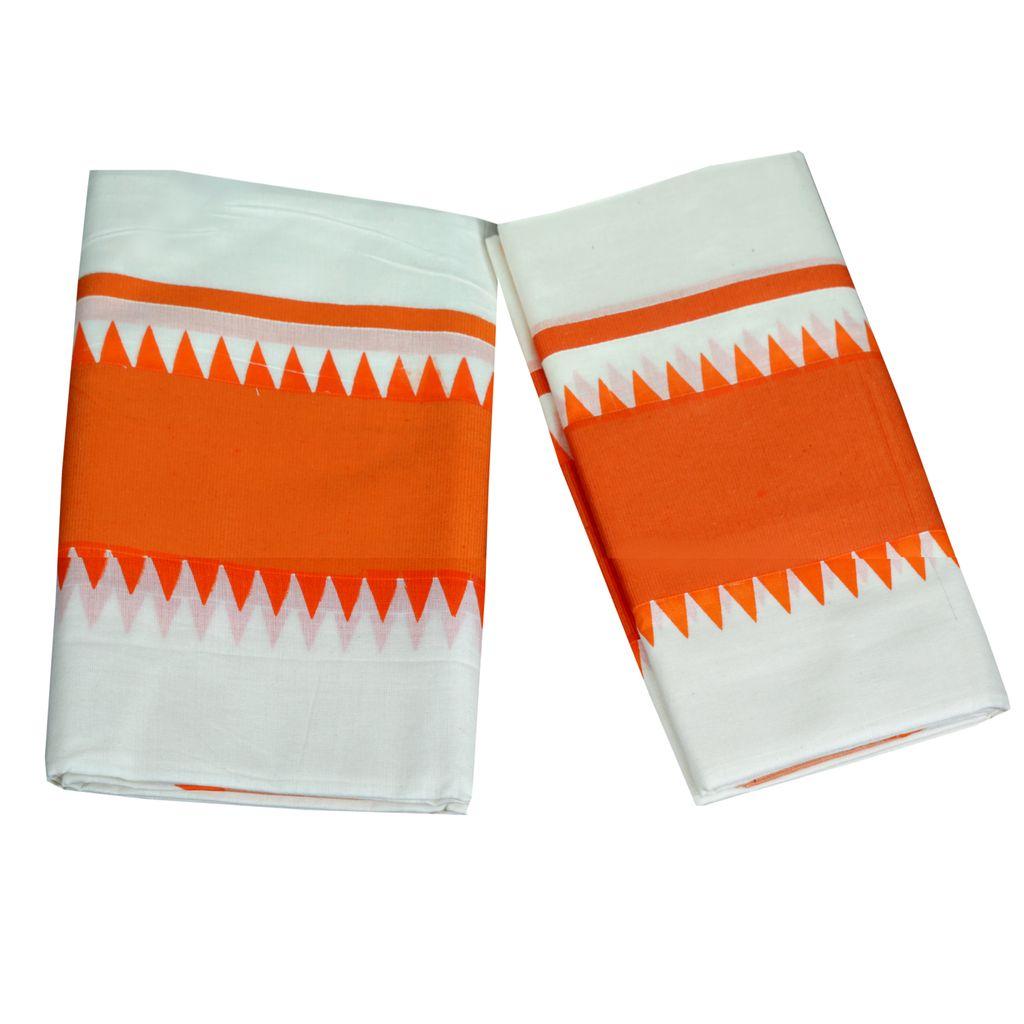 Orange Temple Print Kattikkara Cotton Set