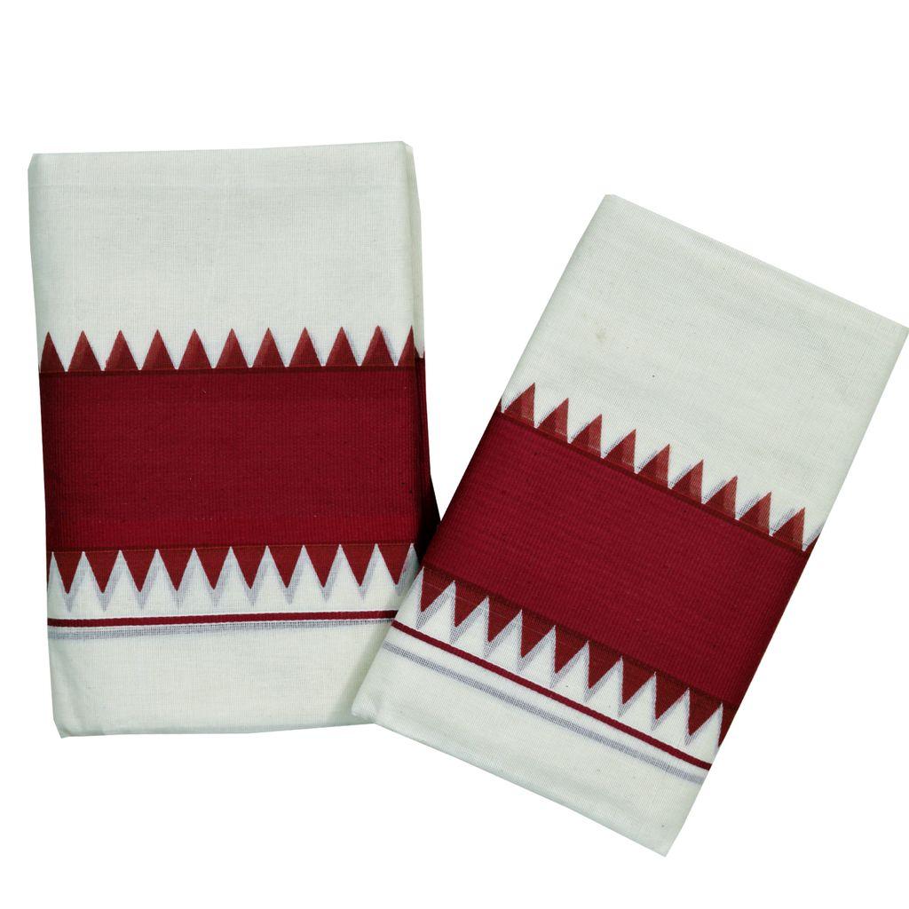 Maroon Temple Print Kattikkara Cotton Set Mundu