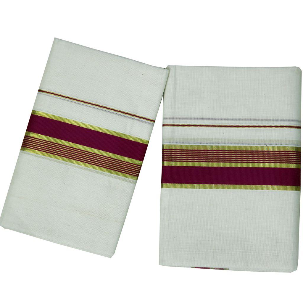 Purple Kara Cotton Set With Golden Stripes