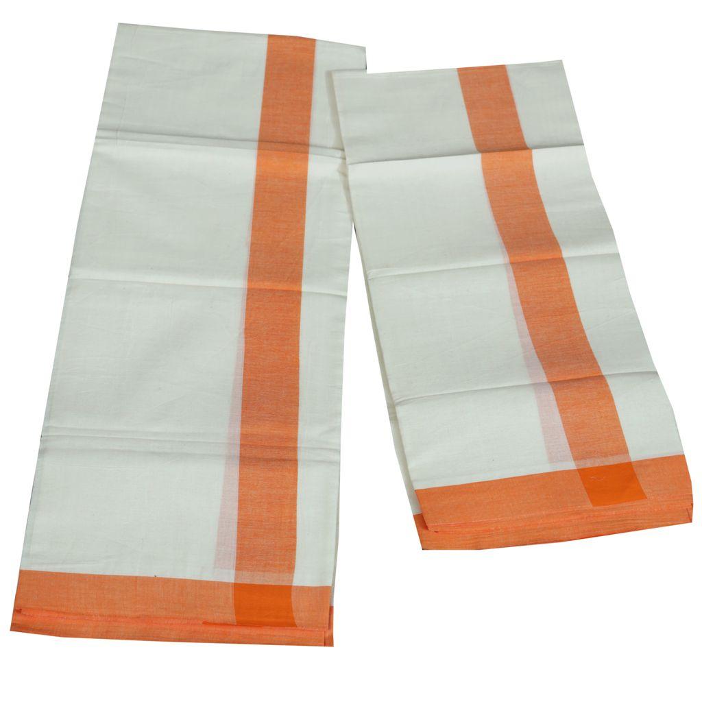 Mulloth Thick Light Orange Kara Set Mundu