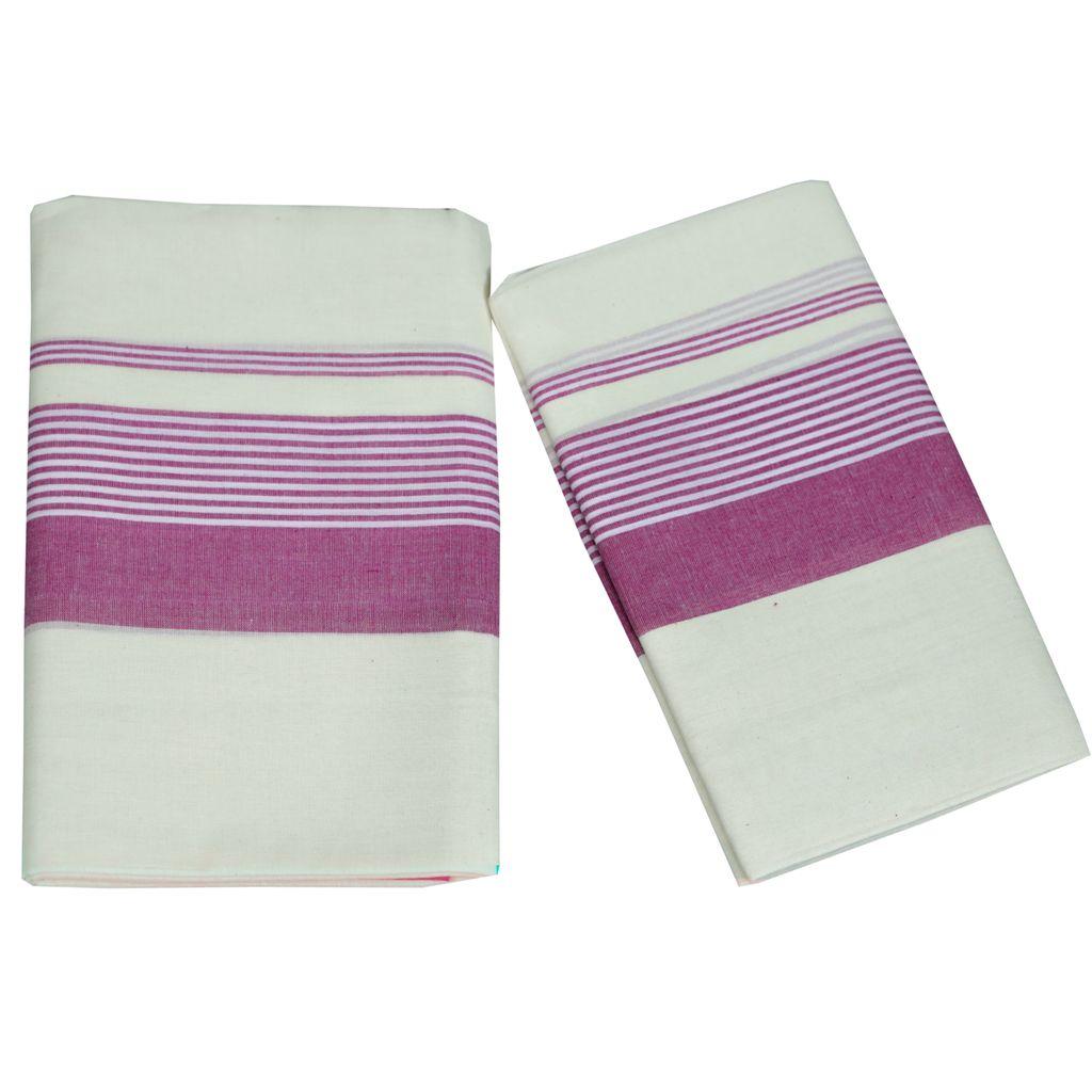 Mulloth Cotton Setmundu With Light Violet Kara