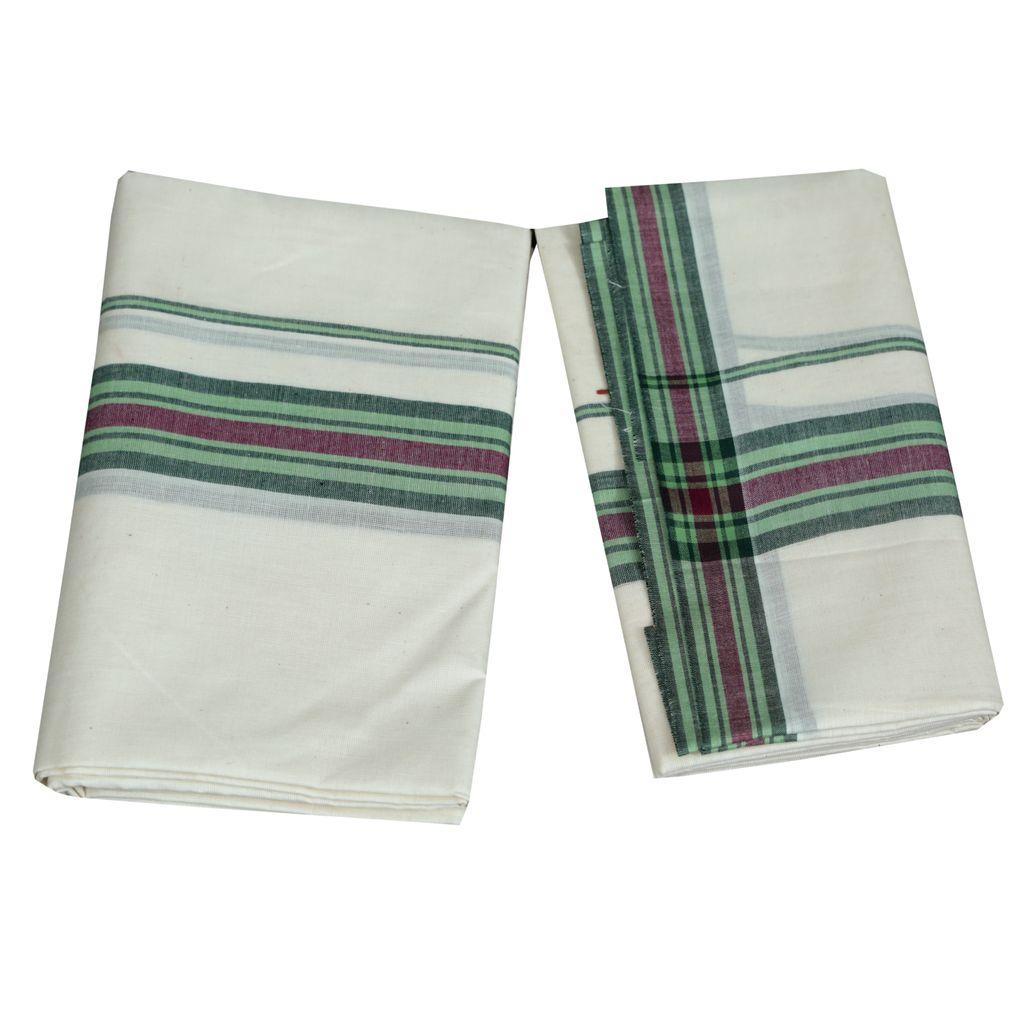 Mulloth Cotton Setmundu With Light Green Kara