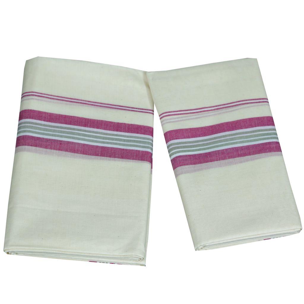 Mulloth Cotton Setmundu With Light Pink Kara