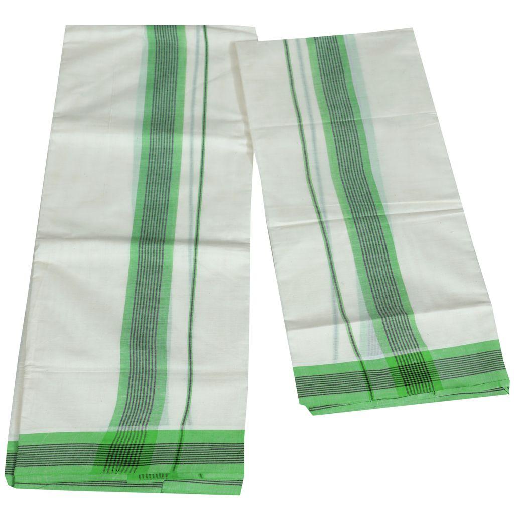 Mulloth Cotton Setmundu With Green Kara
