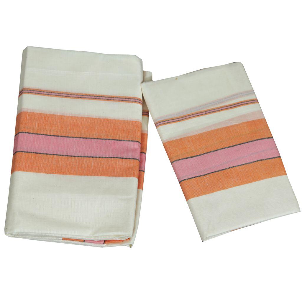 Mulloth Cotton Setmundu With Orange Kara