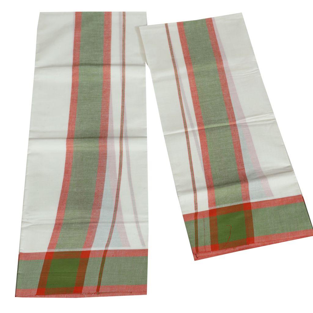 Mulloth Cotton Setmundu With Light Green And Red Kara