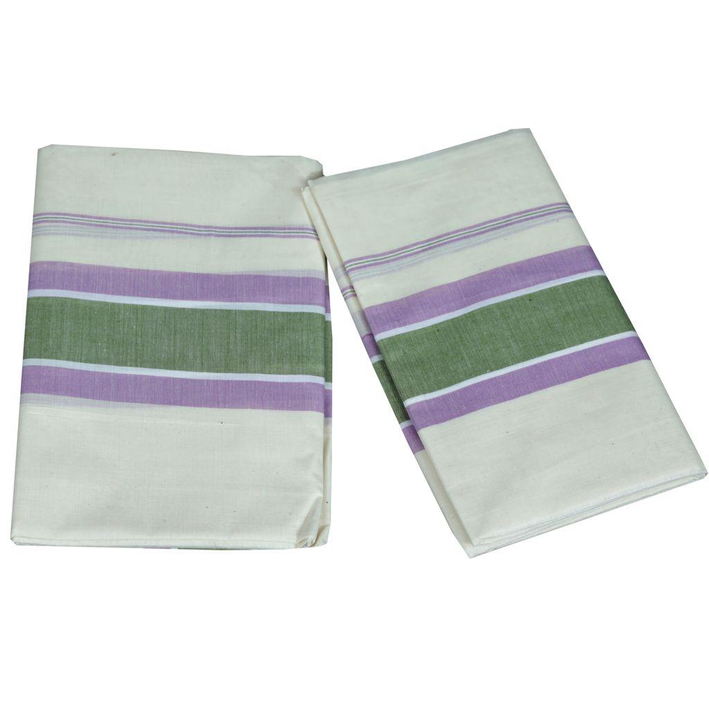 Mulloth Cotton Setmundu With Light Green And Violet Kara