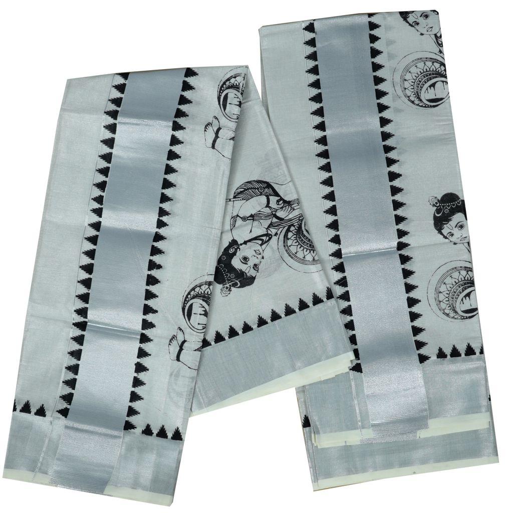 Silver Tissue Setmundu With Krishna Mural Print