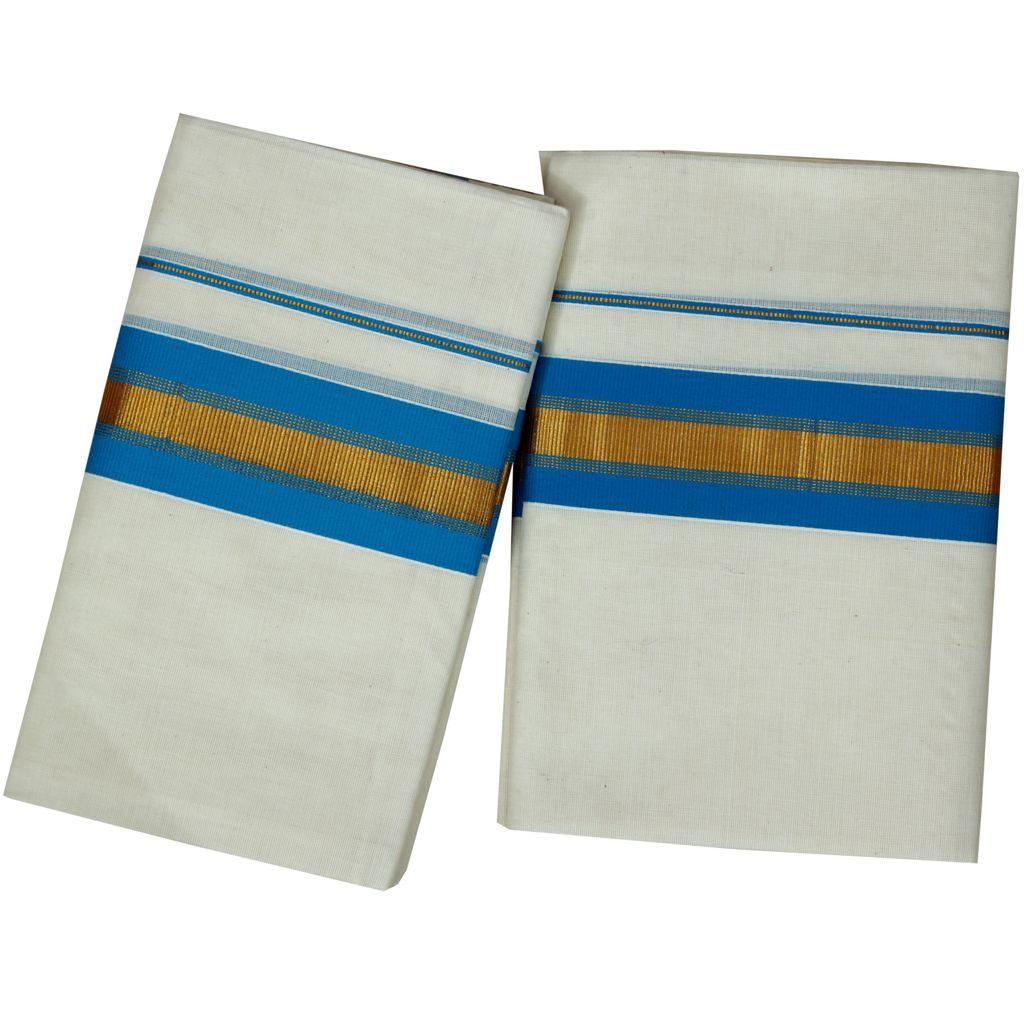 Cotton Set Mundu Golden Kara With Blue Lines