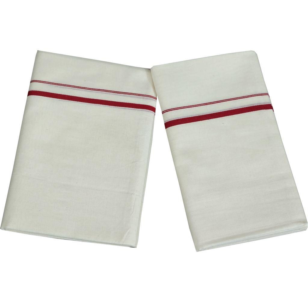 Maroon Puliyilakkara Cotton Set Mundu