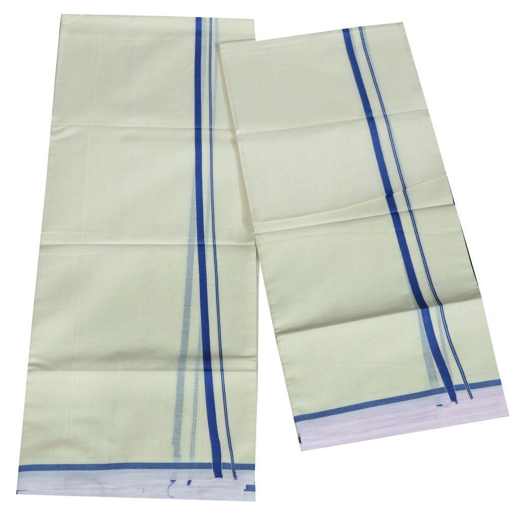 Classic Blue Puliyilakkara Cotton Set Mundu