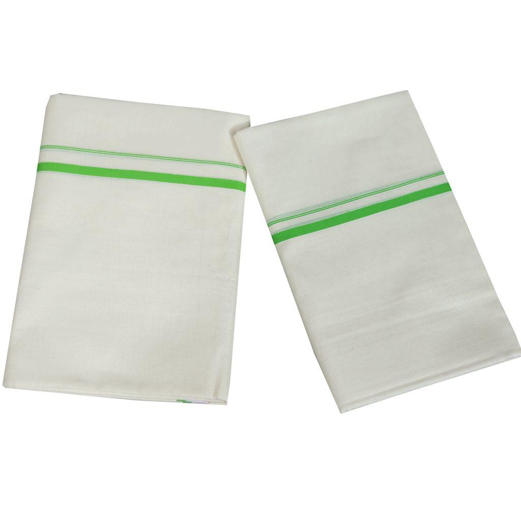 Light Green Puliyilakkara Cotton Set Mundu