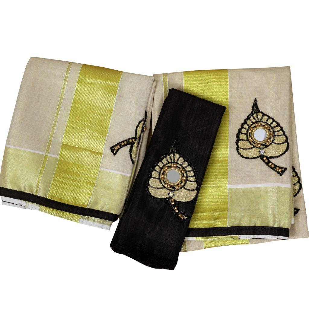 Black Aalila Embroidery Setmundu With Mirror Work