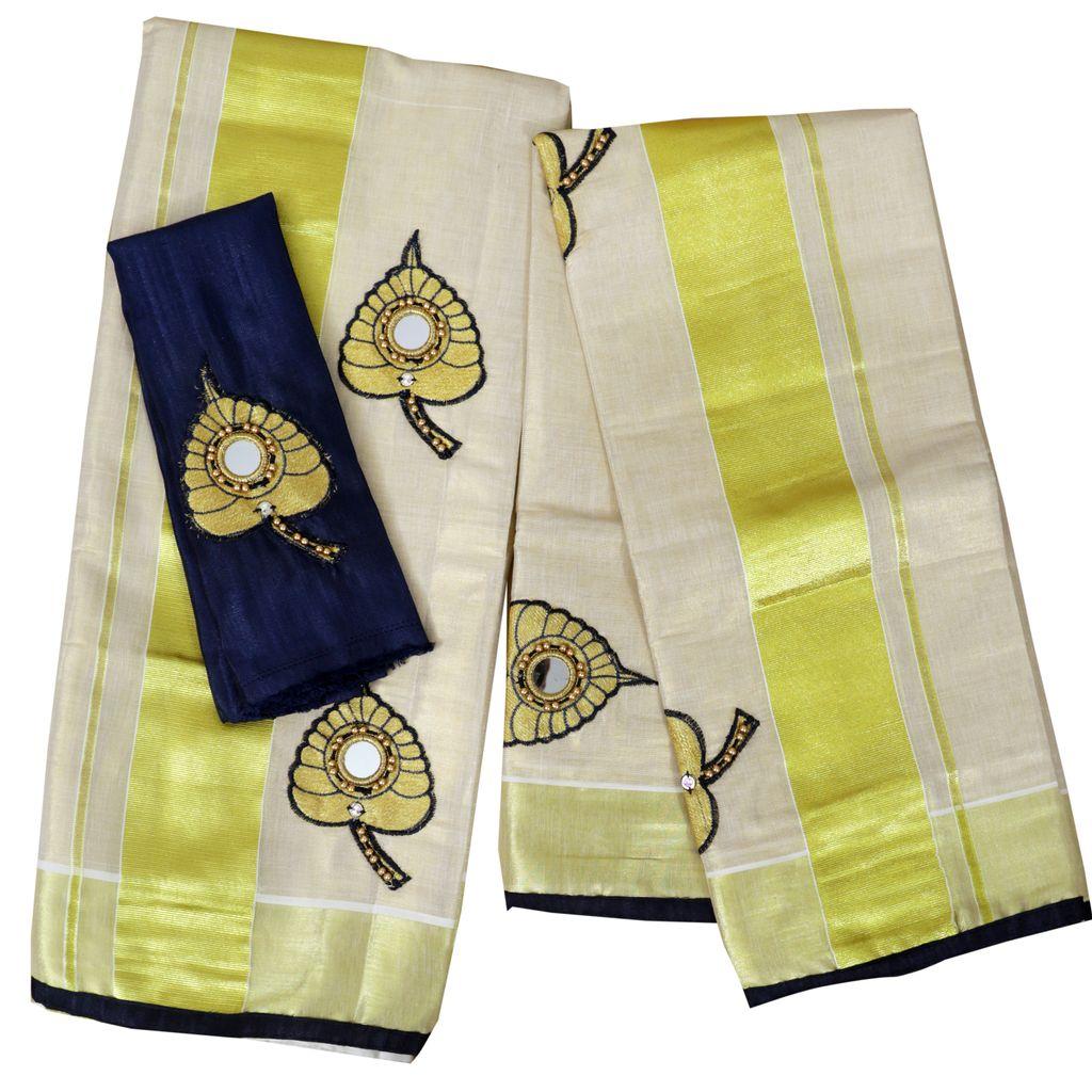 Royal Blue Aalila Embroidery Setmundu With Mirror Work