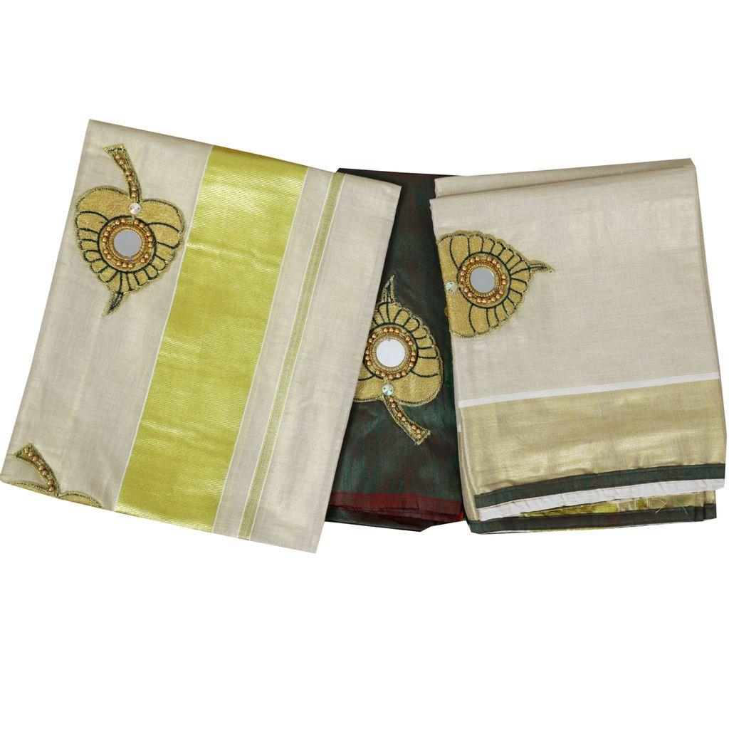 Green Aalila Embroidery Setmundu With Mirror Work