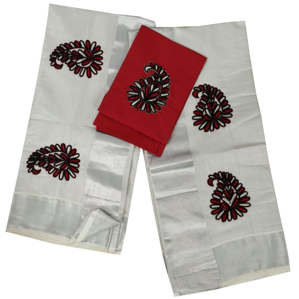 Bead Work Embroidery Set Mundu  With Maroon Blouse