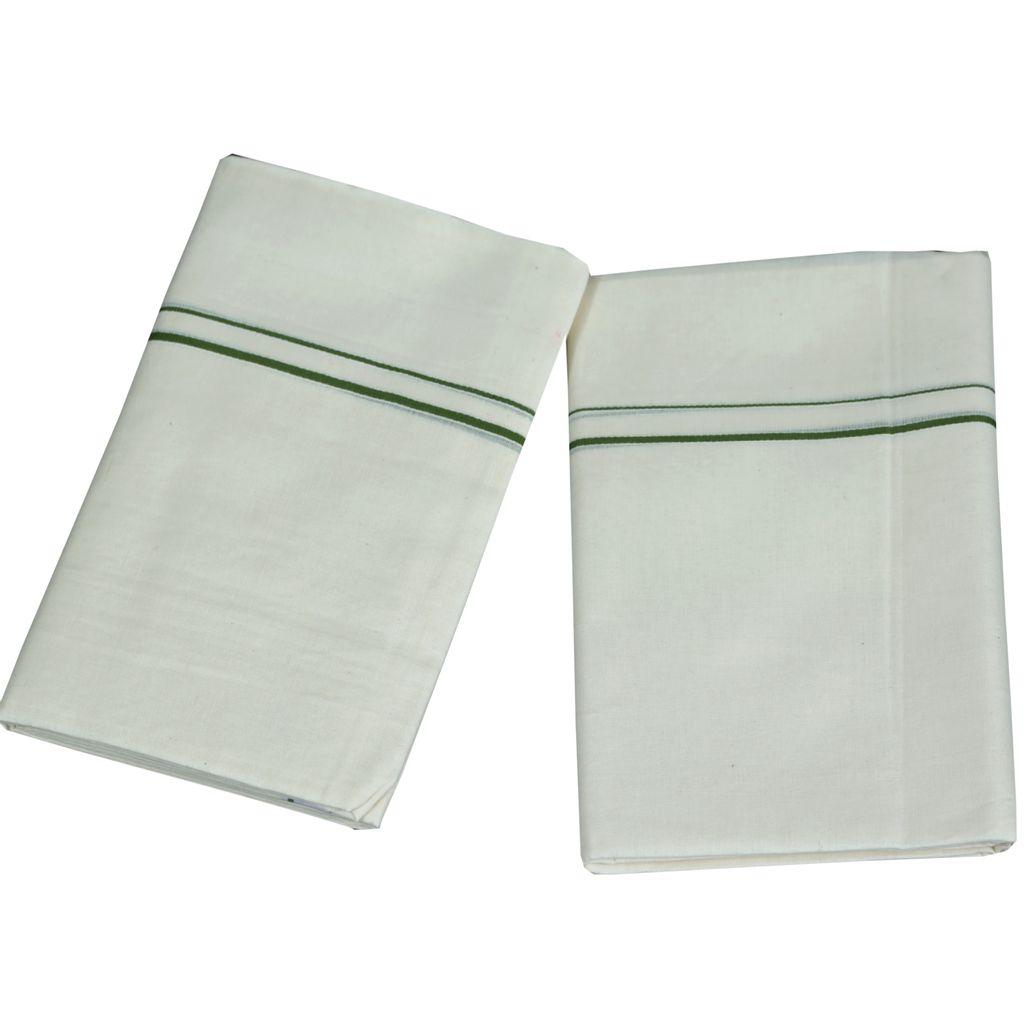 Green Puliyilakkara Cotton Set Mundu