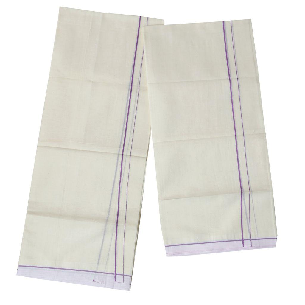 Violet Puliyilakkara Cotton Set Mundu