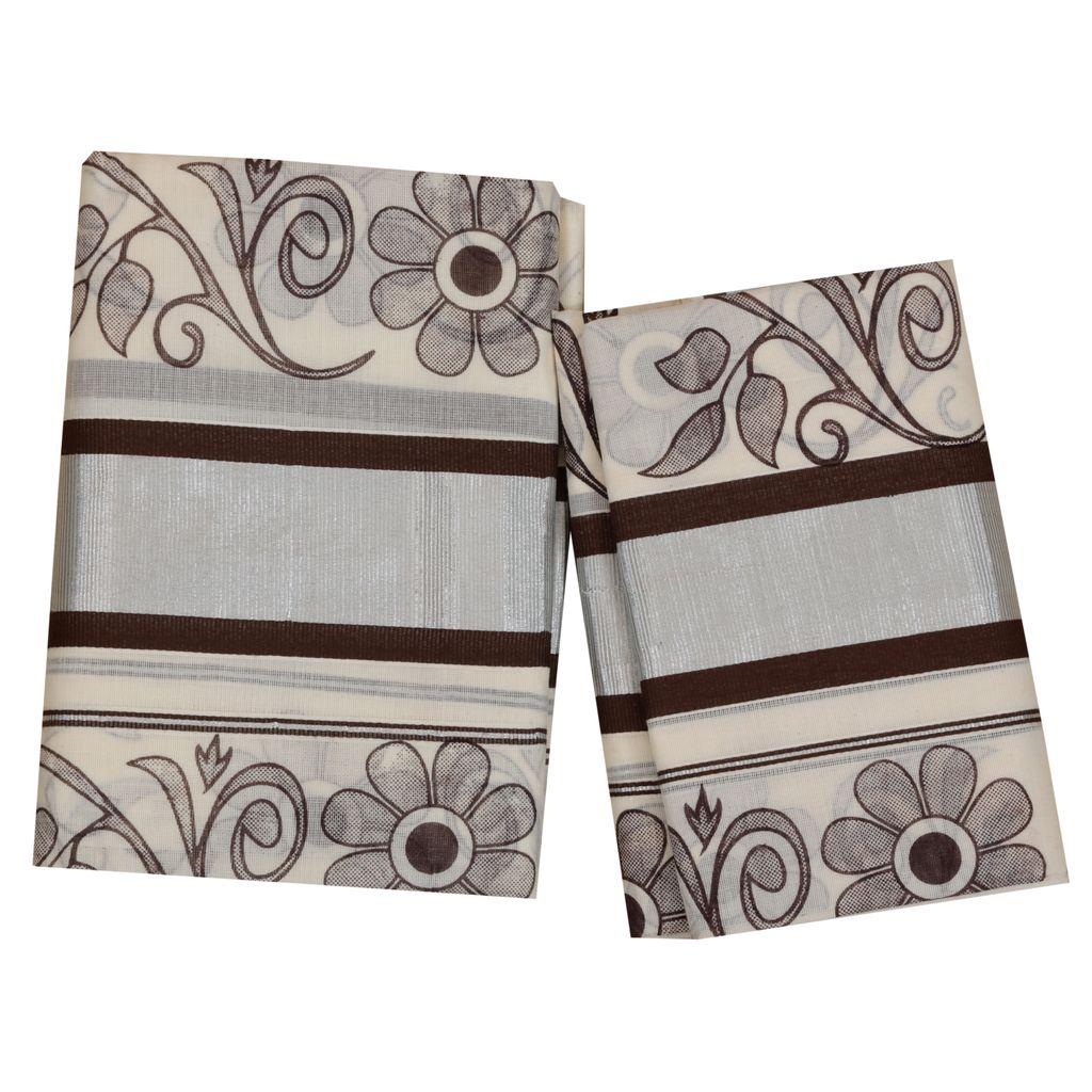 Colour Fancy Set Mundu With Brown Floral Print
