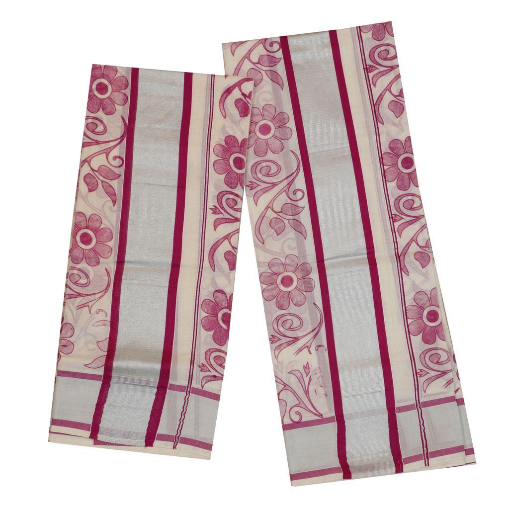 Colour Fancy Set Mundu With Majantha Floral Print