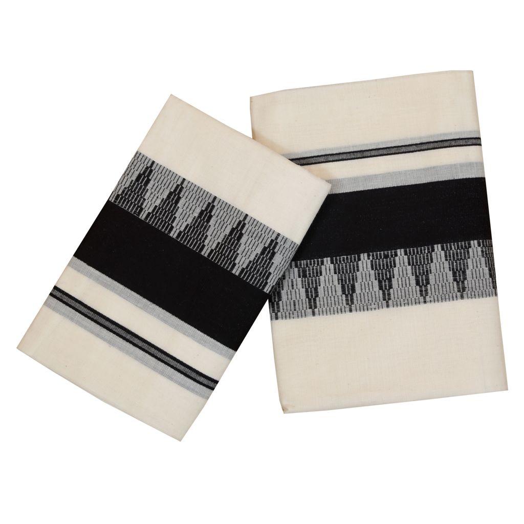 Cotton Set Mundu  With Black  Temple Work