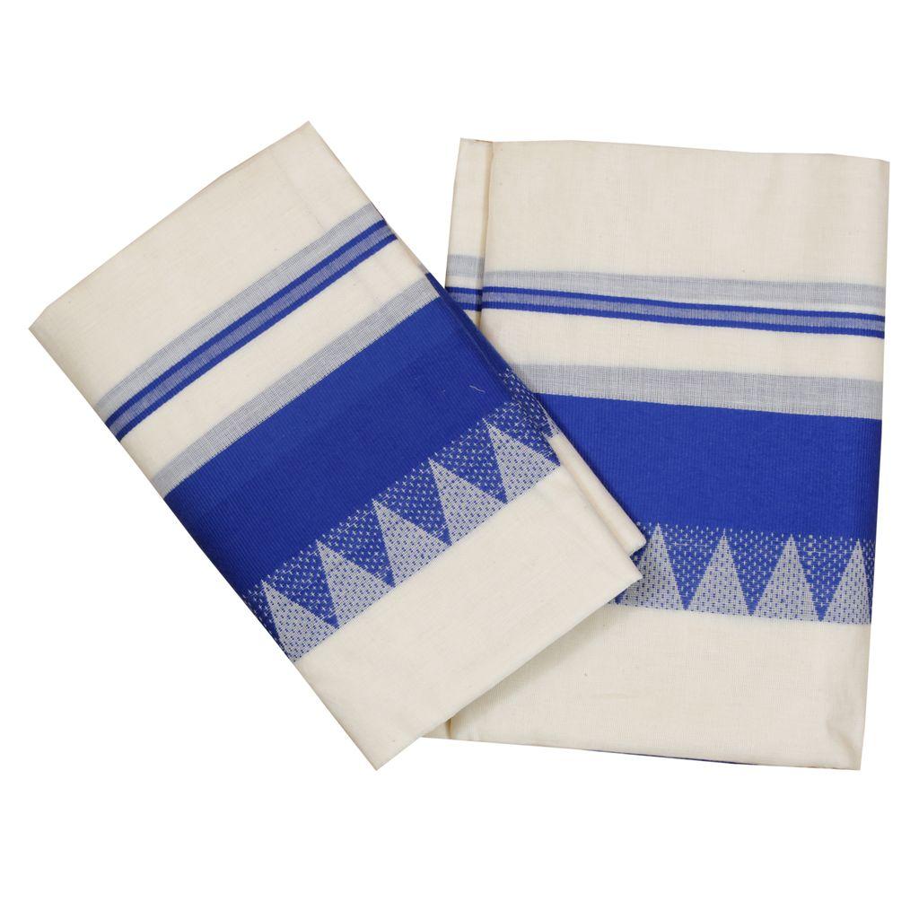 Cotton Set Mundu  With Classic Blue Temple Work