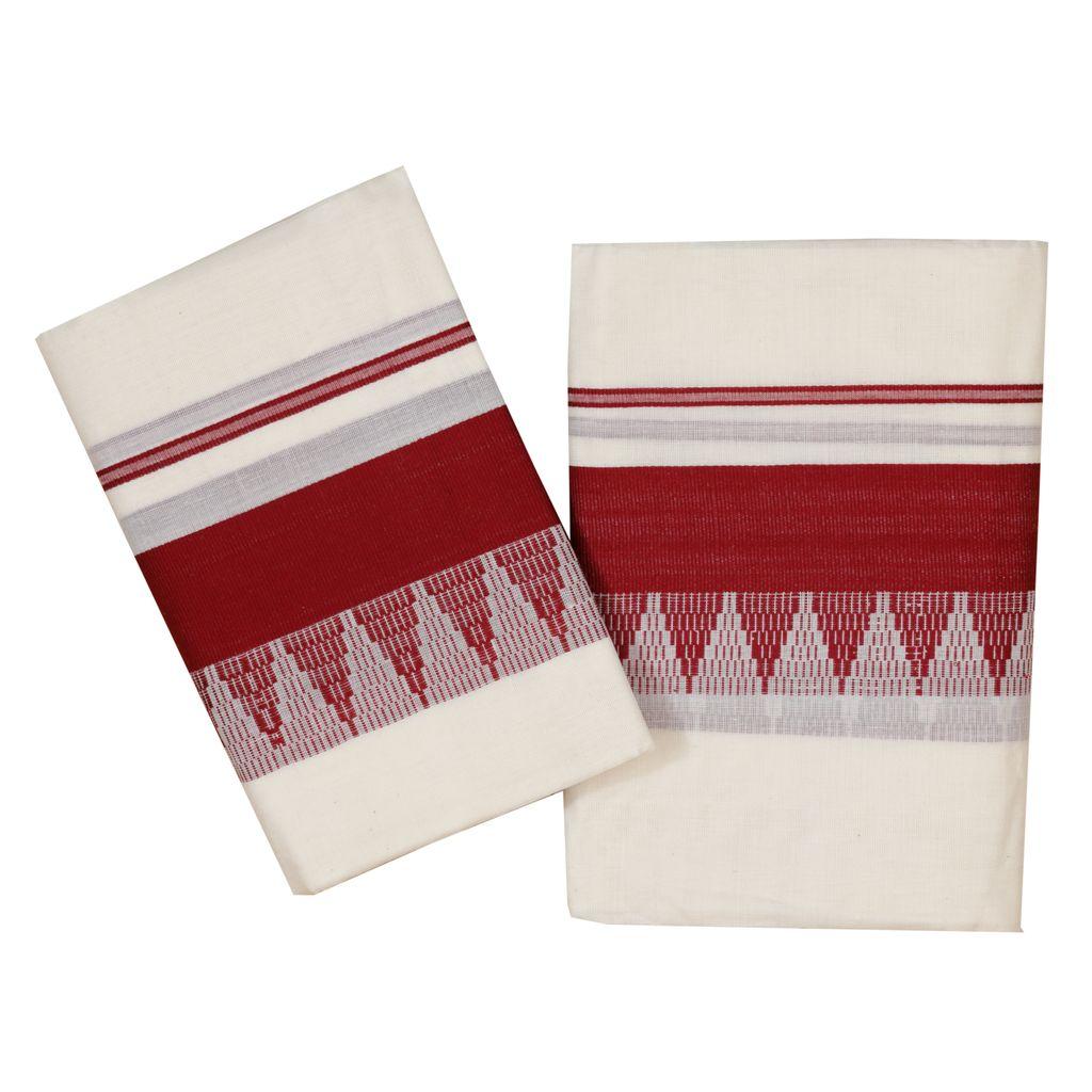 Cotton Set Mundu  With Maroon Temple Work
