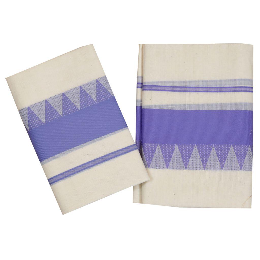 Cotton Set Mundu  With Violet Temple Work