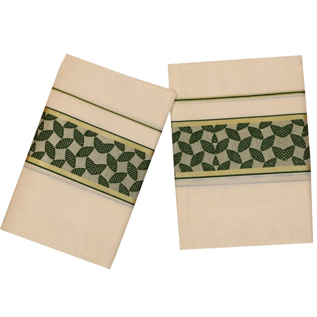 Traditional Set Mundu With Green Design