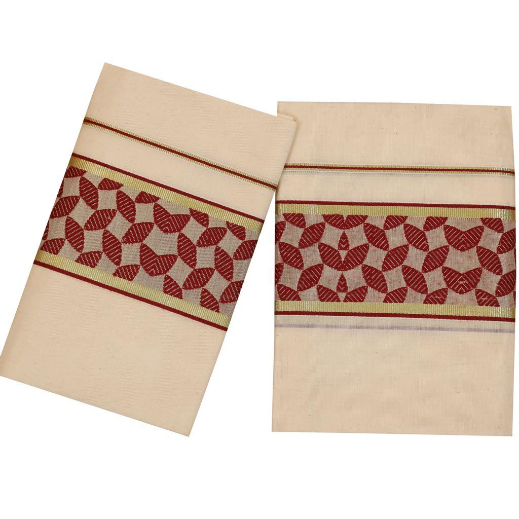 Traditional Set Mundu With Maroon Design