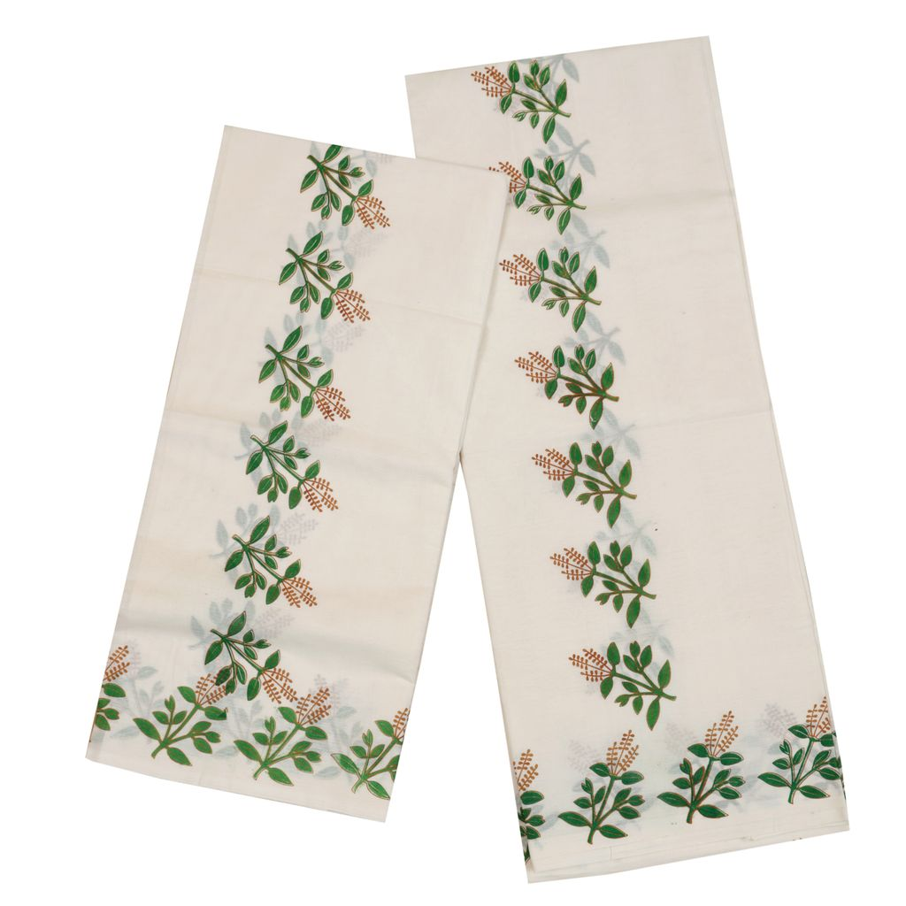 Traditional Cotton Setmundu With Tulasi Kathir Print