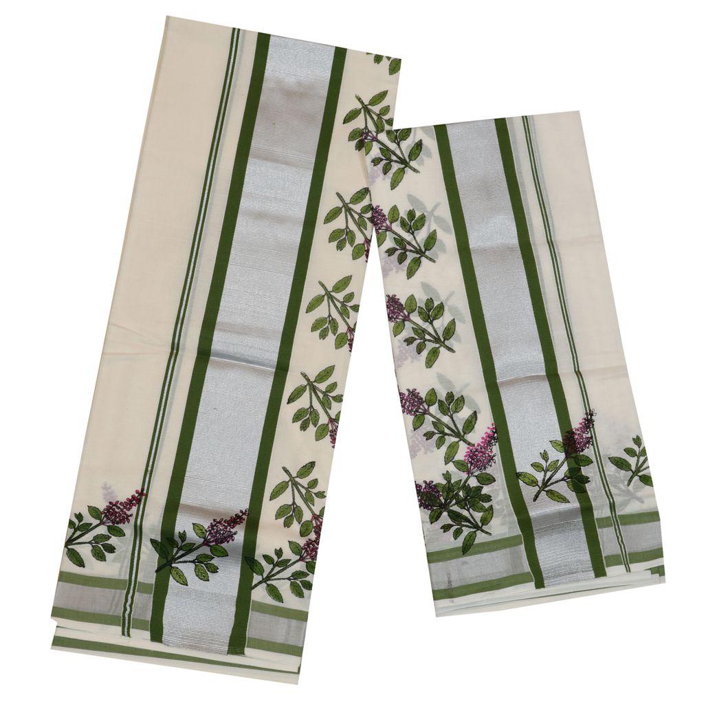 Silver And Green Kara Setmundu With Tulsi Kathir Print