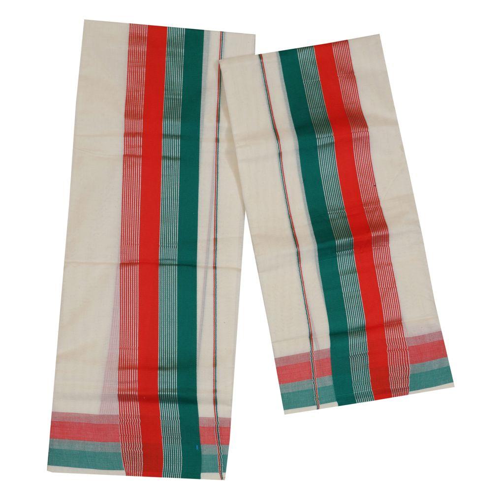 Traditional Set Mundu With Red And Cyan Kara