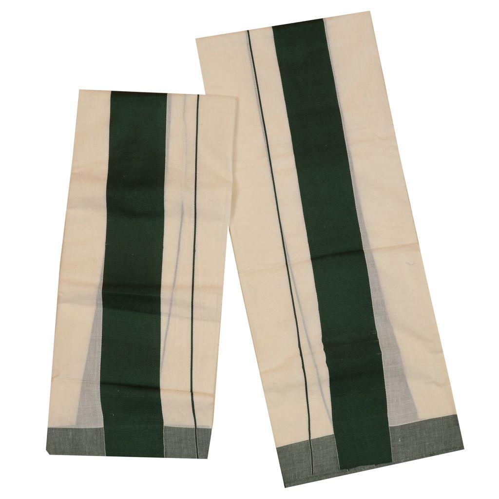 Set Mundu With Dark Green Kattikara