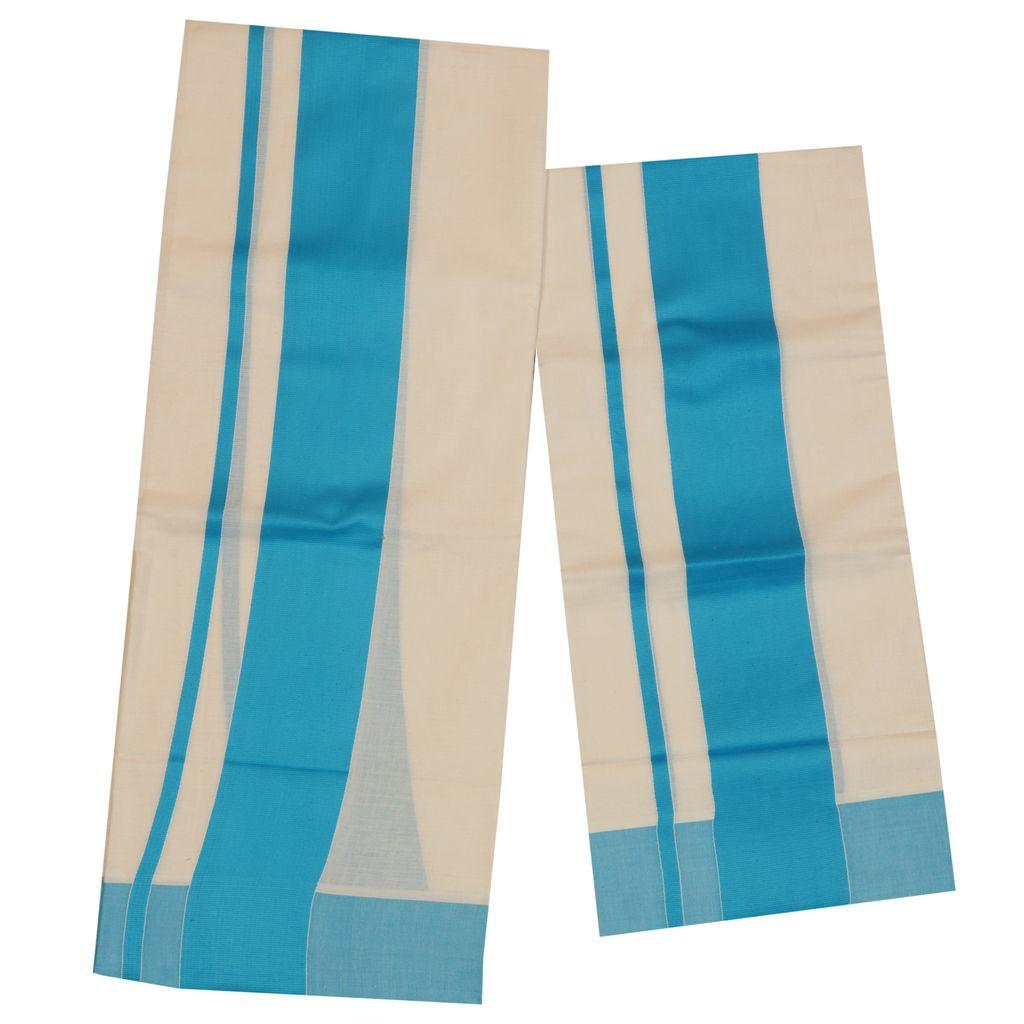 Traditional Set Mundu With Blue Kara