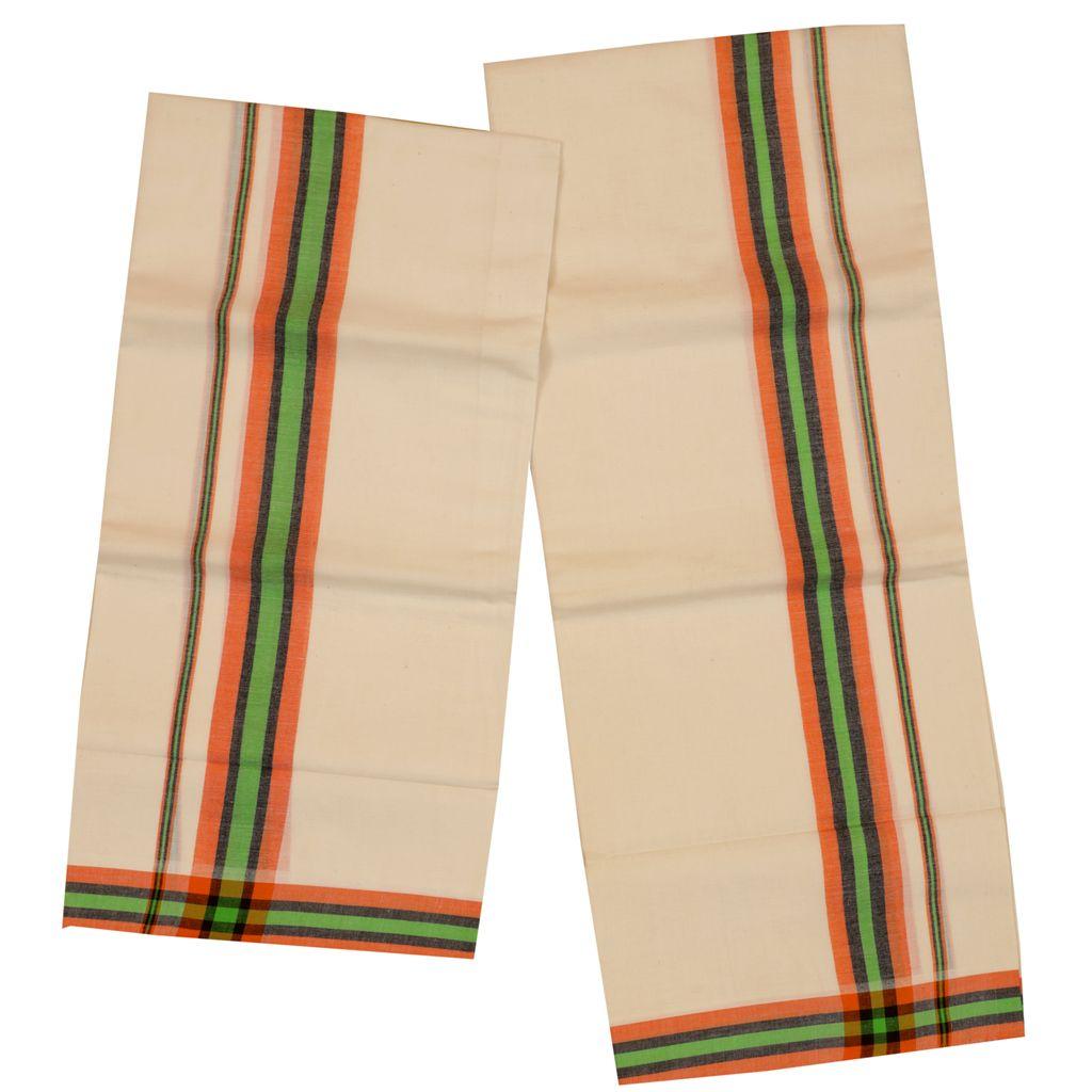 Traditional Set Mundu With Orange And Green Kara