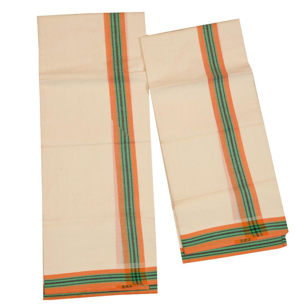 Traditional Mulloth Set Mundu With Orange And Green Kara